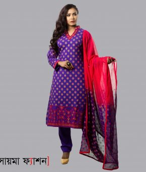 Violet Printed With Embroidered Linen Shalwar Kameez